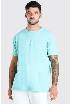 Mint green Oversized London Print Overdyed T-Shirt