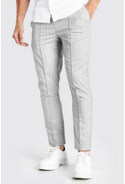 Light grey grey Skinny Textured Pinstripe Formal Jogger