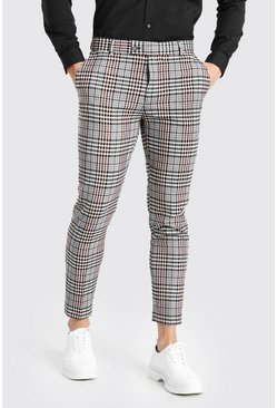 Grey Skinny Check Smart Cropped Trouser