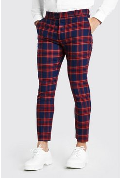 Navy Super Skinny Cropped Plaid Smart Pants