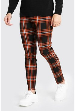 Oranje orange Skinny Fit Tartan Pantalons