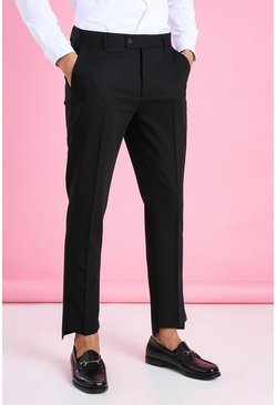 Black Skinny Plain Smart Trouser With Split Cuff