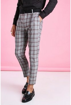 Grey Super Skinny Check Trousers With Contrast Waistband