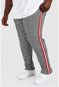 Grey Plus Size Prince Of Wales Jogger With Tape