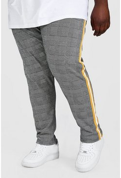 Grey grå Big And Tall Prince Of Wales Jogger With Tape