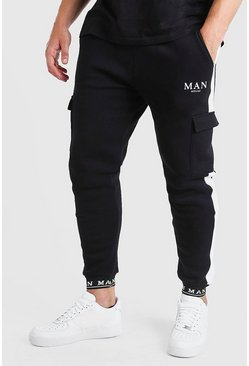 Black Plus Size MAN Jogger With Embroidered Cuff
