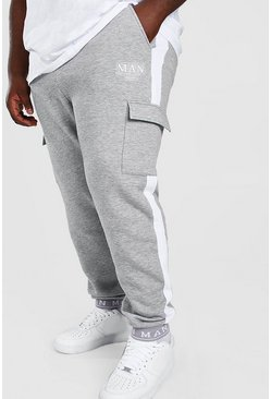 Grey Plus Size MAN Jogger With Embroidered Cuff