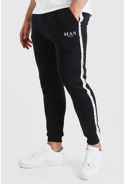 Black Plus Size Skinny Jogger With MAN Tape