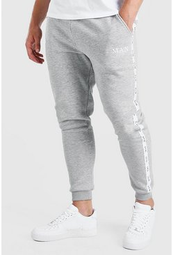Grey grå Big And Tall Skinny Jogger With MAN Tape