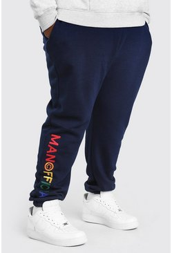 Navy Plus Size MAN Official Embroidered Jogger