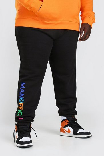Black Plus Size MAN Embroidered Jogger