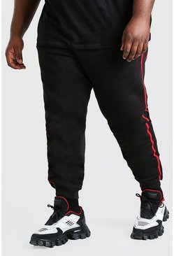 Black Plus Size MAN Dash Jogger With Side Tape