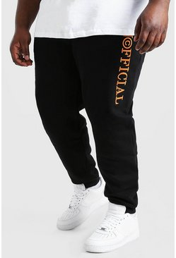 Black Plus Size MAN 3D Embroidered Joggers