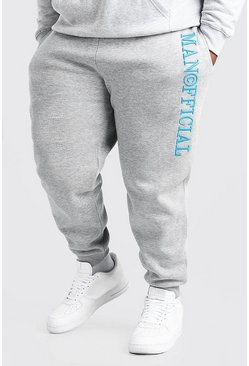 Grey marl grey Plus Size MAN 3D Embroidered Joggers