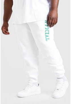 White Plus Size MAN 3D Embroidered Joggers