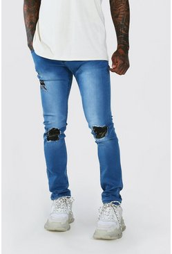 Stonewash blue Super Skinny Jeans With Camo Rip & Repair
