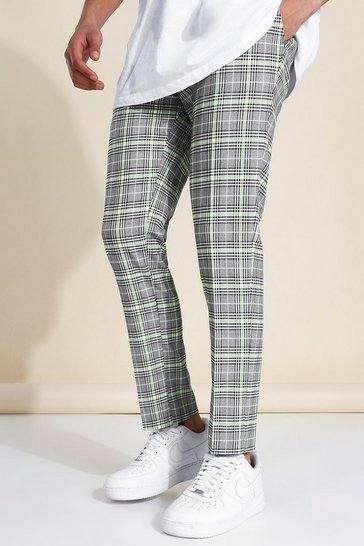 Grey Skinny Crop Neon Check Tailored Chain Trouser
