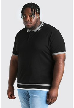 Black Big And Tall Polo With Contrast Tipping