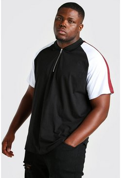 Black Plus Size Shoulder Colour Block Polo