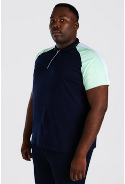 Navy Plus Size Shoulder Colour Block Polo