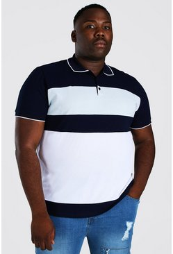 Navy Big And Tall Colour Block Polo