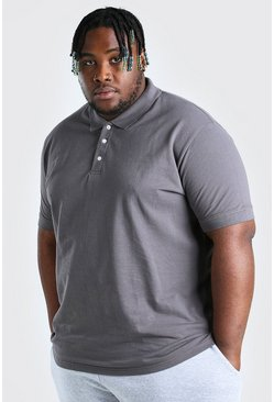 Charcoal grey Plus Size Pique Polo