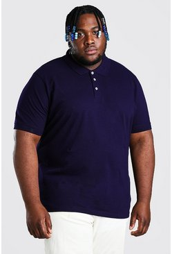 Navy Plus Size Pique Polo