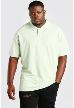 Sage green Plus Size Pique Polo