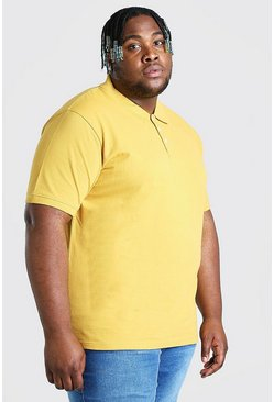 Mustard yellow Plus Size Pique Polo