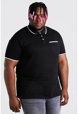 Black Big And Tall Polo With Trim