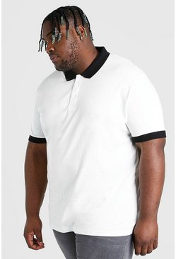Ecru white Plus Size Polo With Contrast Collar And Cuff