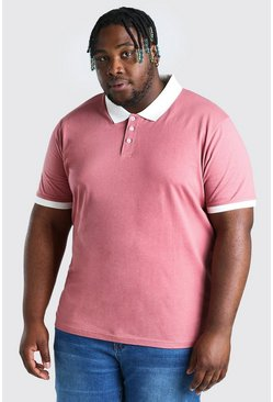 Pink Plus Size Polo With Contrast Collar And Cuff