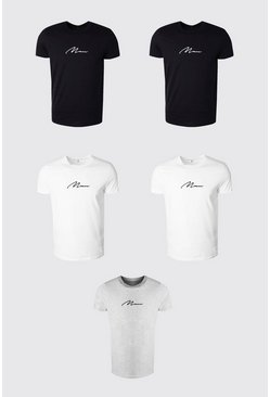 Multi Man Signature T-shirts med rund hals (5-pack)
