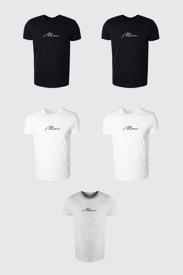 Multi 5 Pack MAN Signature Crew Neck T-Shirt