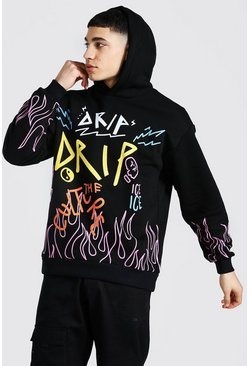 Black Oversized Graffiti Flame Print Hoodie