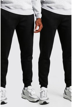 Black 2 Pack Slim Fit Basic Joggers