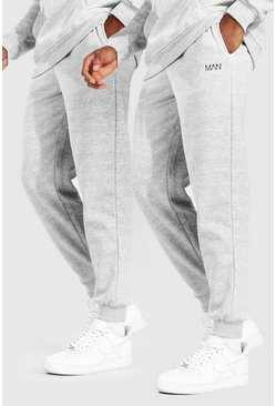 Grey grå MAN Dash Joggers med ledig passform (2-pack)