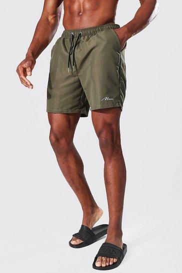 Khaki Recycled Man Signature Mid Length Swim Shorts