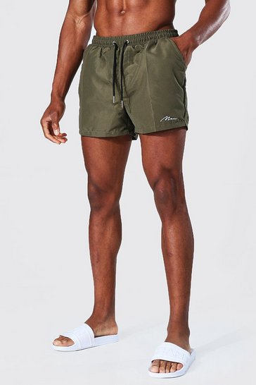Khaki Recycled Man Signature Short Swim Shorts