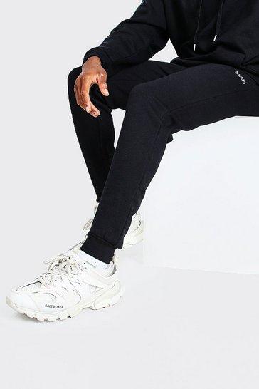 Black Skinny Fit Original MAN Embroidered Joggers