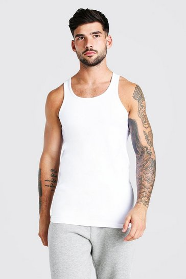 White Muscle Fit Vest