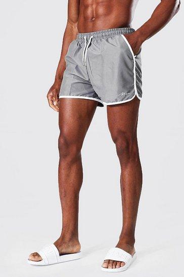 Grey Recycled Man Signature Runner Swim Shorts