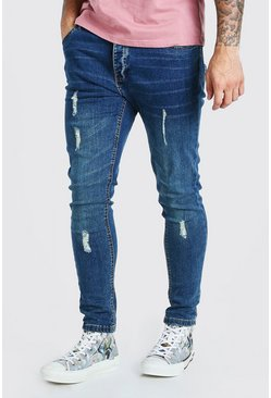 Light blue blue Skinny Fit Jean With Knee Rips
