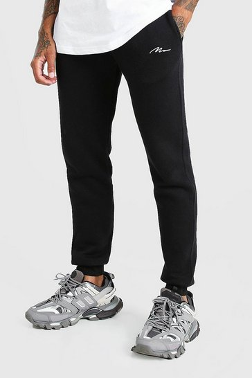 Black Skinny Fit MAN Signature Embroidered Joggers