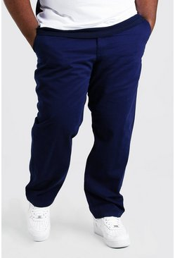 Navy Plus Size Slim Fit Chino Trouser