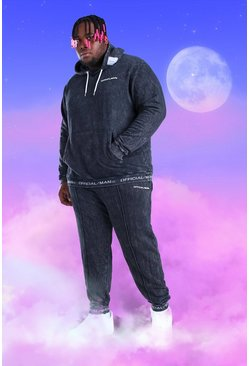 Black Big And Tall Official MAN Hooded Tracksuit