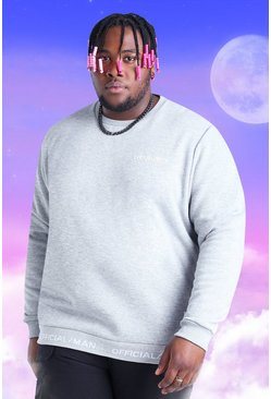 Grey marl grey Plus Size Official Man Geribbelde Sweater
