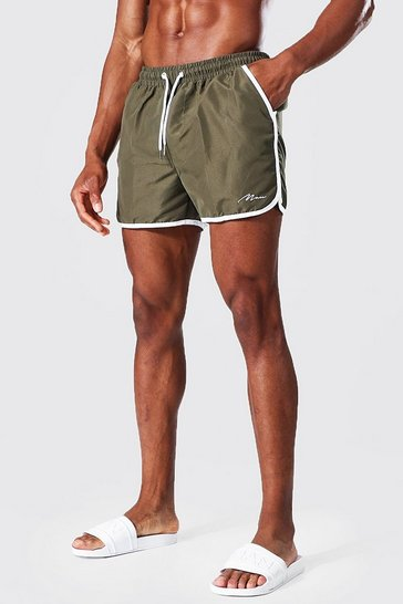 Khaki Recycled Man Signature Runner Swim Shorts
