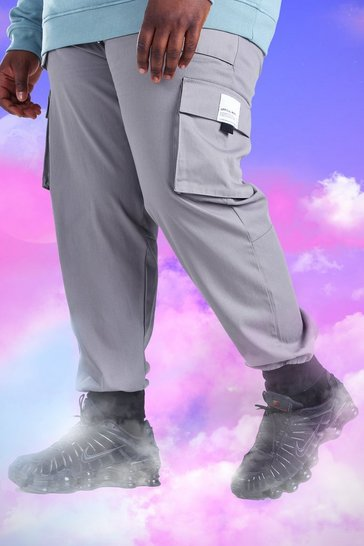 Slate grey Plus Size Slim Fit Deep Cuff Utility Jogger