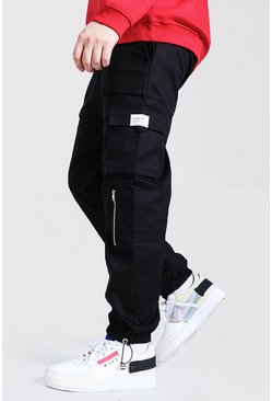 Zwart black Plus Size Slim Fit Utility Joggingbroek Met Rits